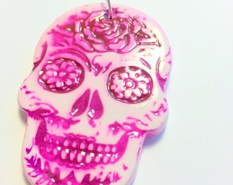 Bright Pink Sugar Skull Day of the Dead Faux Ceramic Ornament or Decoration