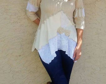 Knit Sweater Tunic Shabby Chic Country Romantic Repurposed Size L / 14 - 16