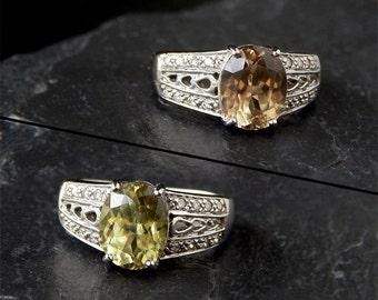 Color Change Chrysoberyl Ring: 14k white gold, diamond, size 5, openwork filigree, peridot green, alternative engagement ring, alexandrite