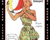 Vintage Sewing Pattern 1950's Ladies' Play Suit Romper Depew 5153 in Any Size - PLUS Size Included  -INSTANT DOWNLOAD-