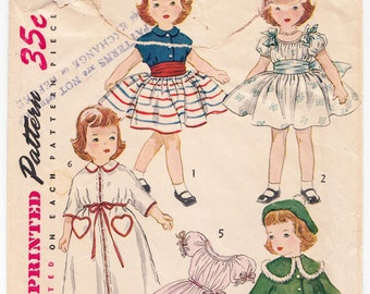 Vintage Sewing Pattern Simplicity 4128 1950's Doll Outfits with Dress, Nightgown, Petticoat, Robe, Hat & Coat