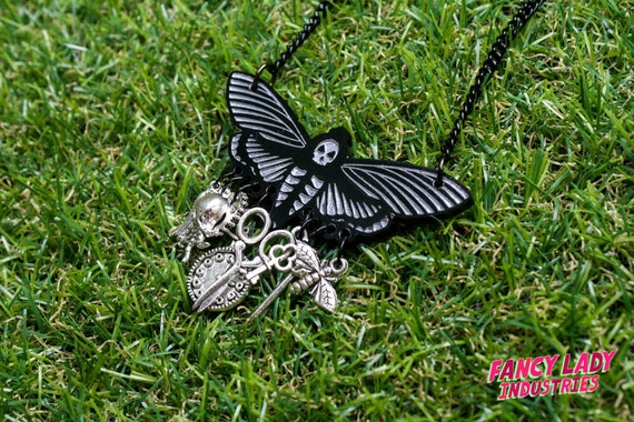 Death's Head Moth Chatelaine Necklace with Charms, Laser Cut Jewelry, Charm Necklace, Steampunk Necklace, Goth Necklace