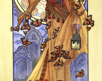 Art Print Lady of November Veiled Woman with Butterflies and Chrysanthemums Goddess Birthstone and Birthflower Art Nouveau Painting