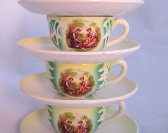 Vintage Child Size Cup and Saucer Set  Charming Set of 4 Marked Lambrate N.C. Italian Pottery