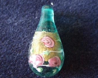 Beautiful Rose Embellished  Aqua Teardrop Lampwork Glass Pendant