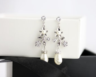 Bridal Earrings Flower Wedding Earrings Swarovski Crystal Rhinestone Pearl Drop Dangle Wedding Earrings Delicate Wedding Jewelry SABINE GDN
