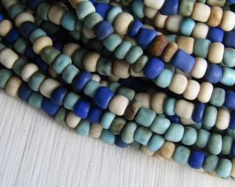 mix seed beads, opaque blue white glass  bead, rustic organic shape,  barrel rondelle Indonesian bead - 1.5  to 4mm /  44 inch - 6CB17-5
