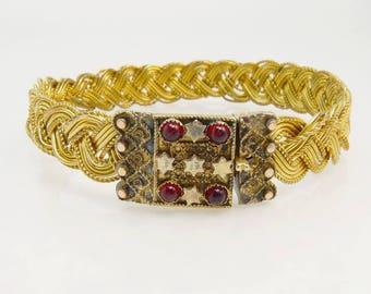 Antique Victorian Gold Filled & Garnet Mesh Braided Bracelet
