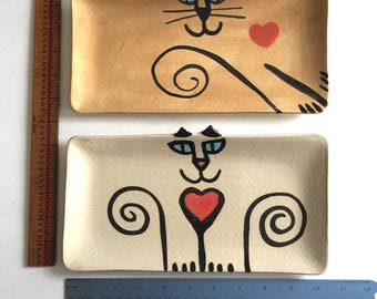 Cat tray rectangle oval dresser cady serving feline design fuctional decor handmade stoneware pottery art whimsical feline designs