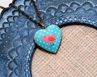 Pink Bird Locket Necklace, Bird Necklace, Heart Locket Pendant, Pink Bird Jewelry