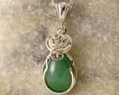Green Gemstone Necklace - Green Aventurine - Aventurine Pendant - Wire Wrapped - Green Aventurine Jewellery - Sterling Silver