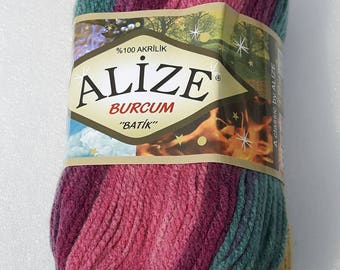 Alize Batik Burcum yarn - multicolor Selfstriping of purple and turqouise shades - 1 ball of 100gr