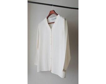 NOS 1990's Sheer Silk Off White Blouse