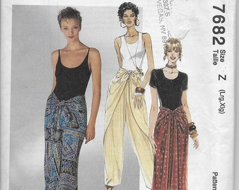 McCalls 7682 Vintage Misses Tie Front Pants and Tie Front Scarf Skirt - Boho Hippie Wrap Pants Swimsuit Cover Up Resort Beachy Size  L-XL