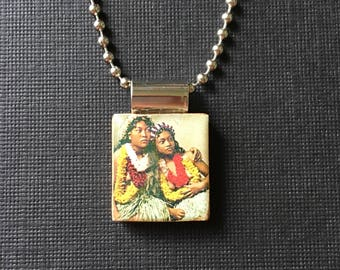 Vintage Hawaiian jewelry, Hawaiian necklace, vintage Hawaiian pendant, recycled and handmade scrabble tile jewelry, Hawaii pendant, summer