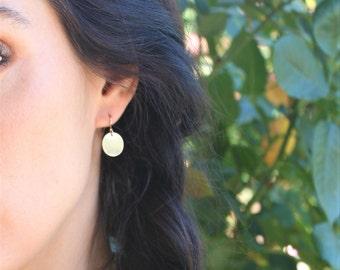 Gold Coin Earrings, Simple Earrings, Gold Earrings, Gold Dangle Earrings, Dangling Earrings, Everyday Earrings Bridesmaid Gift