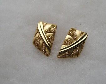 Lovely Brushed Gold tone Ornate Monet Earrings