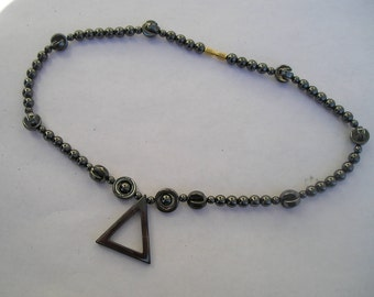 Vintage Hematite Stone Geometric Necklace