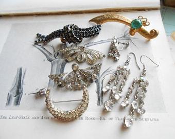 9 pc antique vintage rhinestone junk jewelry supplies destash craft lot - jewelry making supplies, vintage jewelry pieces