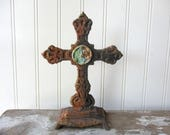 Rustic Cast iron standing cross faux rust rusty painted cross ornate metal 8 inch verdigris paperclay Religious Christian wedding decor  R2
