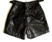Deadstock NWT Vintage 80s Sexy High Waist Black Soft Leather Fetish Shorts XS/SM