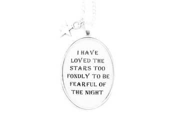 Stars Quote Pendant Necklace Astronomy Poetry Poem Star Black and White Inspirational Motivational