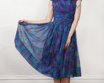 SALE 1960s Purple Dress FLORAL