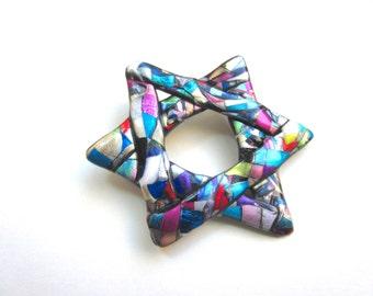 Abstract Star of David Pin Hanukkah judiasm brooch