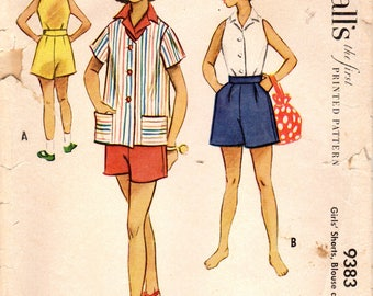 1950s McCall's 9383 Vintage Sewing Pattern Girls Shorts, Sleeveless Blouse, Jacket Size 6