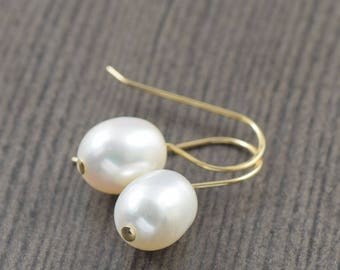 Valentine's Day gift White pearl earrings gold filled earrings gifts for her