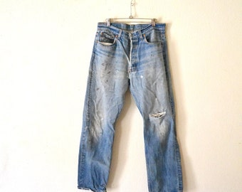 "Levis 501 Dirty Jeans ""Made In U.S.A."" 35x33"