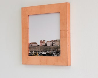 8x8 copper leaf picture frame with glass