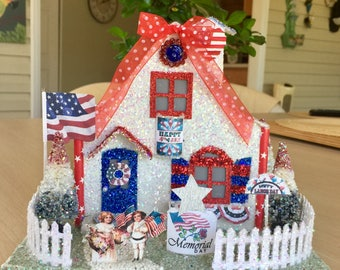 Lighted USA  Patriotic Putz House Glitter House