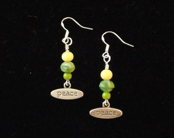 Tibetan Silver PEACE Charms and Yellow and Green Bead Earrings with Sterling Silver Ear Wires