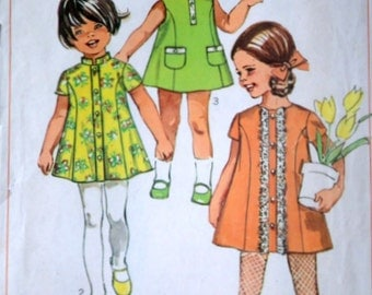 Vintage 60's Simplicity 8168 Sewing Pattern, Girls/Toddler Dress, Size 3, Retro 1960's Summer Fashion