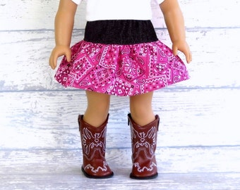 18 inch Doll Clothes Country Western Skirt, Pink Bandana Cowgirl Skirt