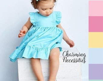 Girls Spring Dress, Toddler Dress, Baby Girl Clothes, Toddler Girl Clothes, Flower Girl Dress, Heirloom Flutter Sleeve Dress, 6 colors