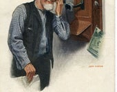 vintage postcard, The Party Line - old man listening in wall phone,  artist signed John Morton