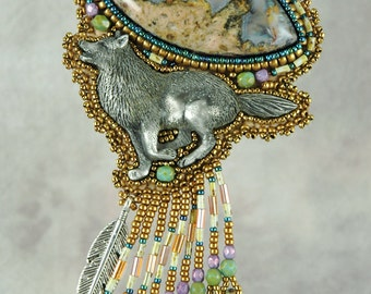 Necklace, beaded, bead embroidery, running wolf, agate, Pewter Wolf Bead Embroidered Necklace