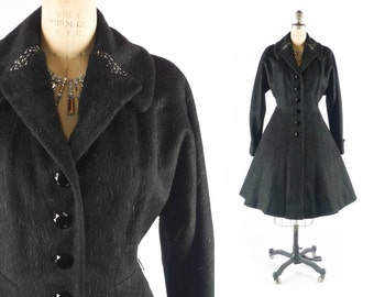 FREE U.S. Ship - Vintage 50s Coat // 1950s Coat // Princess Coat // Flared Coat // Fitted Coat // Black Wool Coat - sz S