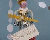 Vintage Style Spun Head Gal -  Happy New Year, Silver with Tiny Watch