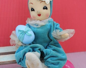 Vintage Pose Style Bunny Doll with Easter Fun in Turquoise, Blue Egg