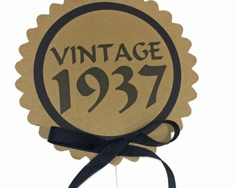 80th Birthday - Vintage 1938 Cake Topper Decoration, Candy Pick, Black and Kraft Brown or Your Choice of Colors