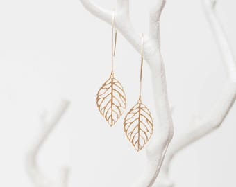 Matte Gold leaf drop earrings, beach-inspired, glass, dangle, charm, jewelry, bridesmaid gift, Handmade in Santa Cruz