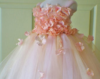 Gorgeous Flower Girl Dress, Photo Prop, Flower Girl Tutu Dress, Blush Pink and Golden, Flower Top, Tutu Dress, Scascading Flowers