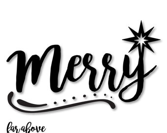 Merry Word Art with Christmas Star - SVG, DXF, png, jpg digital cut file for Silhouette or Cricut