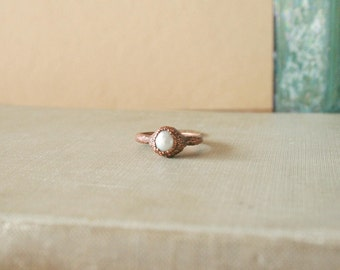 Pearl Ring Electroformed Copper Size 5.75