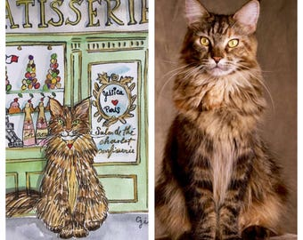 Your pet in Paris: Watercolor Custom portrait 8.25 x 11 inches