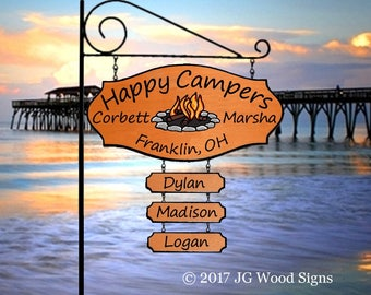 RV Name Sign Colored Campfire Graphic - with 3 add ons w rv sign holder - JG Wood Signs Etsy Custom RV Sign CorbettMarsha