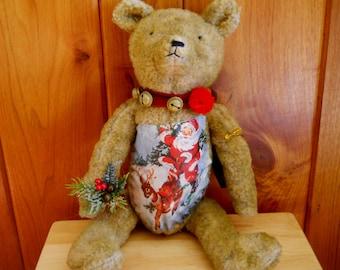 Bethany Lowe Christmas Bear- Whimsical Fuzzy Stuffed Brown Bear- Jingle Bells and fabric Santa Belly